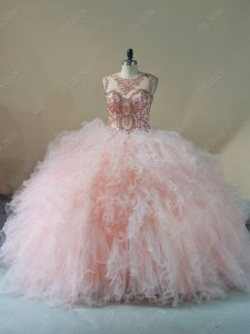 Pink Scoop Lace Up Beading and Ruffles Quinceanera Gown Brush Train Sleeveless
