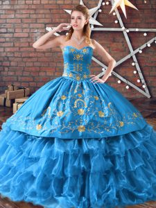 Captivating Blue Satin and Organza Lace Up 15 Quinceanera Dress Sleeveless Floor Length Embroidery and Ruffled Layers