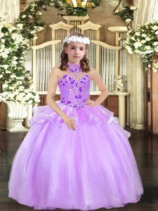 Most Popular Lavender Sleeveless Floor Length Appliques Lace Up Little Girl Pageant Dress