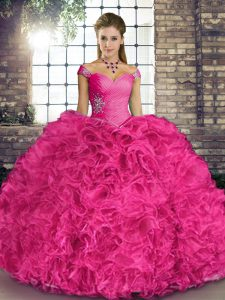 Glittering Sleeveless Lace Up Floor Length Beading and Ruffles Quinceanera Gowns
