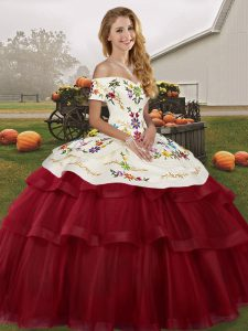 Wine Red Ball Gowns Embroidery and Ruffled Layers Quince Ball Gowns Lace Up Tulle Sleeveless