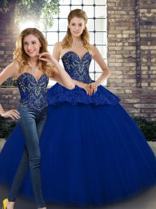 Sleeveless Floor Length Beading and Appliques Lace Up 15 Quinceanera Dress with Royal Blue