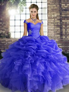 Attractive Blue Lace Up 15 Quinceanera Dress Beading and Ruffles and Pick Ups Sleeveless Floor Length