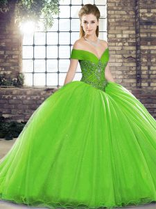 Lace Up Quinceanera Dress for Military Ball and Sweet 16 and Quinceanera with Beading Brush Train