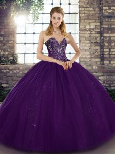 Unique Purple Sleeveless Floor Length Beading Lace Up 15 Quinceanera Dress