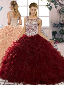 Burgundy Scoop Lace Up Beading and Ruffles Sweet 16 Dresses Sleeveless