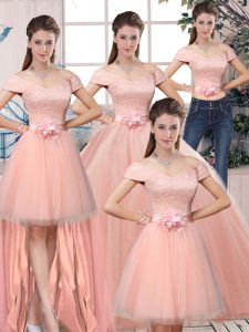 Designer Tulle Short Sleeves Floor Length Sweet 16 Dresses and Lace and Hand Made Flower