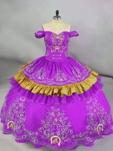 Embroidery Sweet 16 Dresses Purple Lace Up Sleeveless Floor Length