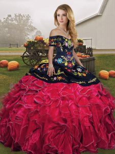Floor Length Red And Black Sweet 16 Dresses Off The Shoulder Sleeveless Lace Up