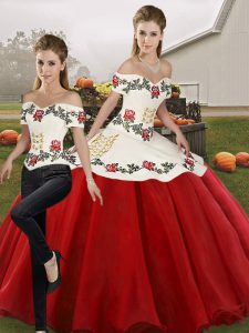 White And Red Sleeveless Organza Lace Up Quinceanera Dresses for Military Ball and Sweet 16 and Quinceanera