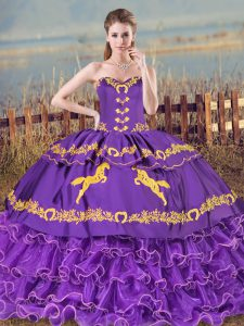 Vintage Purple Sleeveless Embroidery and Ruffled Layers Ball Gown Prom Dress