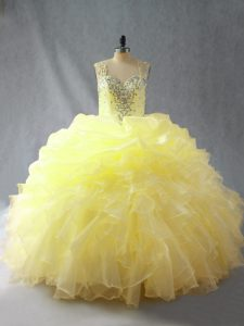 Inexpensive Yellow Organza Zipper Sweet 16 Quinceanera Dress Sleeveless Floor Length Beading and Ruffles