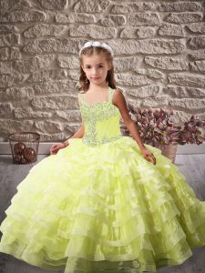 Graceful Yellow Green Lace Up Straps Beading and Ruffled Layers Pageant Dress Wholesale Organza Sleeveless Brush Train