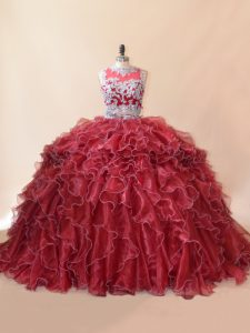 Low Price Red Ball Gown Prom Dress Sweet 16 and Quinceanera with Beading and Lace and Appliques Scoop Sleeveless Brush Train Zipper