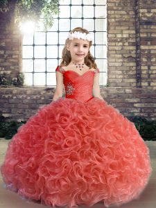 Red Lace Up Straps Beading and Ruching Glitz Pageant Dress Fabric With Rolling Flowers Sleeveless