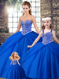 Modest Royal Blue Sleeveless Beading and Pick Ups Lace Up Quinceanera Dresses
