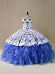 Cute Sleeveless Embroidery and Ruffles Lace Up 15 Quinceanera Dress with Blue And White Brush Train