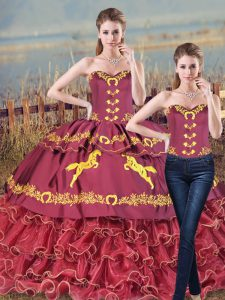 Customized Burgundy Sleeveless Satin and Organza Brush Train Lace Up Quinceanera Dress for Sweet 16 and Quinceanera