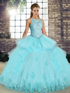 Aqua Blue Sleeveless Floor Length Lace and Embroidery and Ruffles Lace Up Quince Ball Gowns