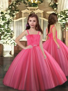 Eye-catching Hot Pink Tulle Lace Up Little Girl Pageant Gowns Sleeveless Floor Length Beading