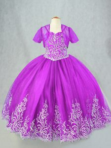Purple Lace Up Spaghetti Straps Beading and Embroidery Little Girl Pageant Dress Tulle Sleeveless