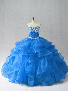 Smart Blue Sweetheart Lace Up Beading and Ruffles 15 Quinceanera Dress Sleeveless