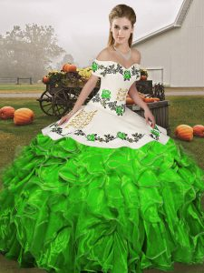 Sexy Green Organza Lace Up Off The Shoulder Sleeveless Floor Length Vestidos de Quinceanera Embroidery and Ruffles