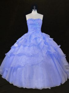 Designer Sweetheart Sleeveless Lace Up Quinceanera Gowns Lavender Organza