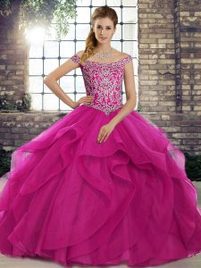 Fuchsia Quince Ball Gowns Off The Shoulder Sleeveless Brush Train Lace Up