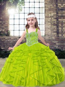 Floor Length Little Girls Pageant Gowns Straps Sleeveless Lace Up