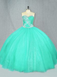 Suitable Turquoise Sweetheart Lace Up Beading 15th Birthday Dress Sleeveless