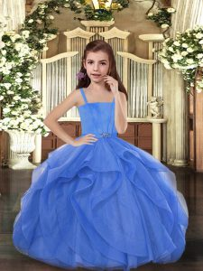 Beauteous Blue Sleeveless Floor Length Beading Lace Up Child Pageant Dress