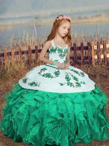 Fantastic Straps Sleeveless Little Girl Pageant Gowns Floor Length Embroidery and Ruffles Turquoise Organza