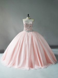 Pink Sleeveless Beading Floor Length Sweet 16 Quinceanera Dress