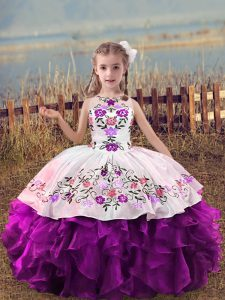 Scoop Sleeveless Organza Child Pageant Dress Embroidery and Ruffles Lace Up