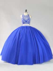 High Class Royal Blue Backless 15th Birthday Dress Beading Sleeveless Floor Length