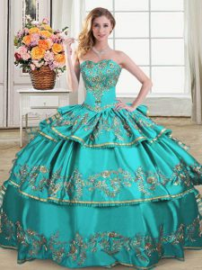 Glittering Aqua Blue Sleeveless Satin and Organza Lace Up 15th Birthday Dress for Sweet 16 and Quinceanera