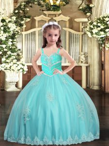 Aqua Blue Ball Gowns Tulle Straps Sleeveless Appliques Floor Length Lace Up Kids Formal Wear