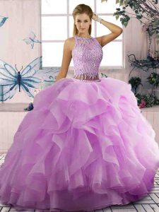 Low Price Tulle Scoop Sleeveless Lace Up Beading and Ruffles Ball Gown Prom Dress in Lilac