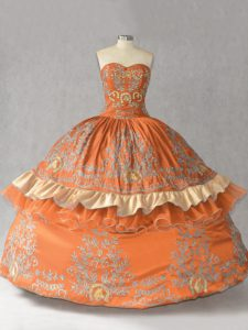 Fantastic Orange Sweetheart Lace Up Embroidery Quinceanera Gowns Sleeveless