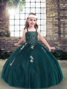 Excellent Teal Spaghetti Straps Lace Up Appliques Little Girl Pageant Dress Sleeveless