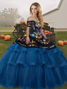 Fancy Brush Train Ball Gowns Quinceanera Gown Blue And Black Off The Shoulder Tulle Sleeveless Lace Up