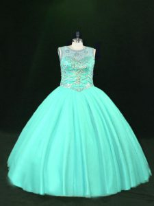 Fashion Sleeveless Lace Up Floor Length Beading Sweet 16 Dresses