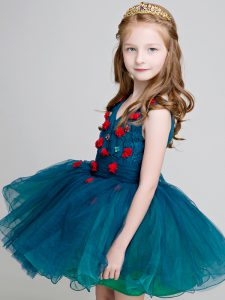 Traditional Teal Ball Gowns V-neck Sleeveless Organza Mini Length Zipper Lace and Appliques Flower Girl Dresses for Less