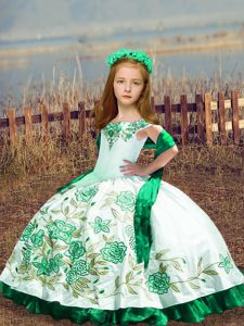 Excellent White Sleeveless Floor Length Embroidery Lace Up Kids Formal Wear