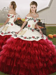 Luxury Floor Length Wine Red Sweet 16 Dress Organza Sleeveless Embroidery and Ruffled Layers