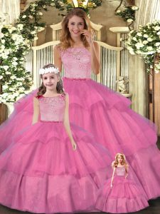 Unique Hot Pink Tulle Zipper Quinceanera Dress Sleeveless Floor Length Lace and Ruffled Layers