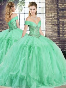 Apple Green Off The Shoulder Neckline Beading and Ruffles Sweet 16 Dresses Sleeveless Lace Up