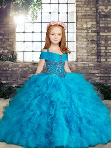 Eye-catching Ball Gowns Little Girl Pageant Gowns Baby Blue Straps Tulle Sleeveless Floor Length Lace Up