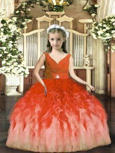 Beauteous Floor Length Backless Little Girl Pageant Dress Rust Red for Party and Sweet 16 and Wedding Party with Beading and Ruffles